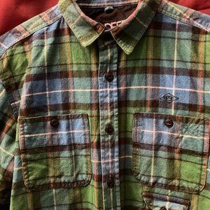 10 deep plaid/flannel button down